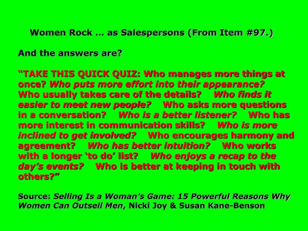 Women Rock … as Salespersons (From Item #97.)