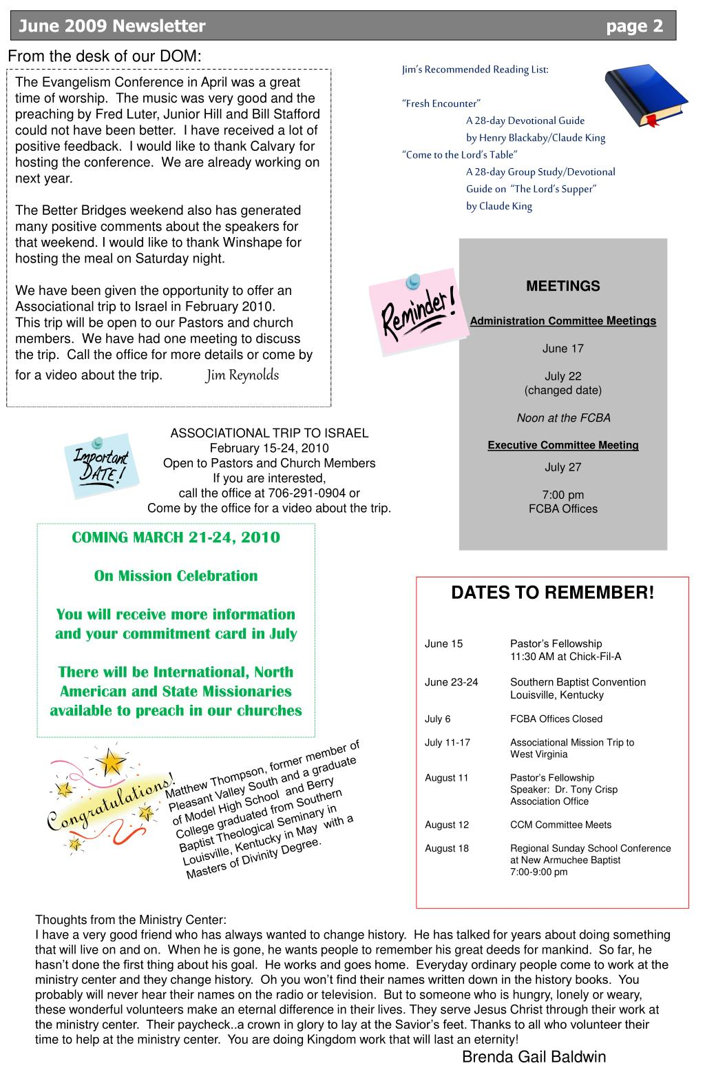 June 2009 Newsletter                                page 2