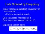 lists ordered by frequency