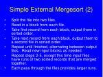 simple external mergesort 2