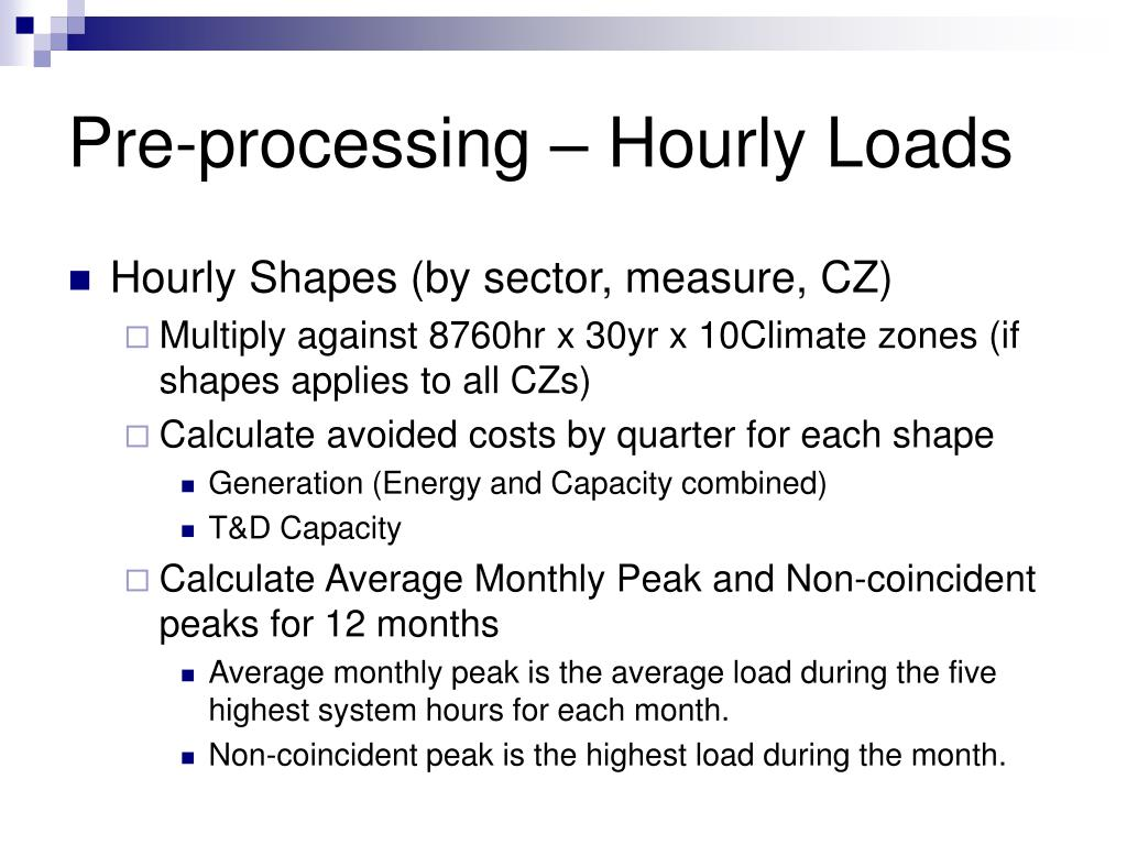 Pre-processing – Hourly Loads