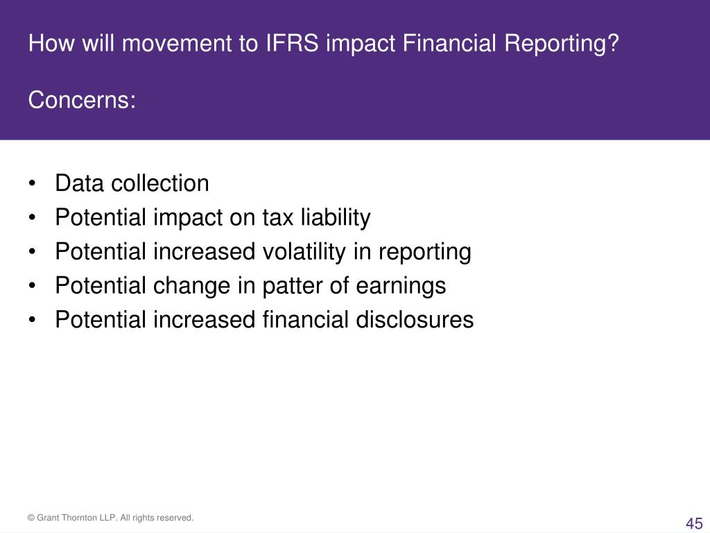 How will movement to IFRS impact Financial Reporting?