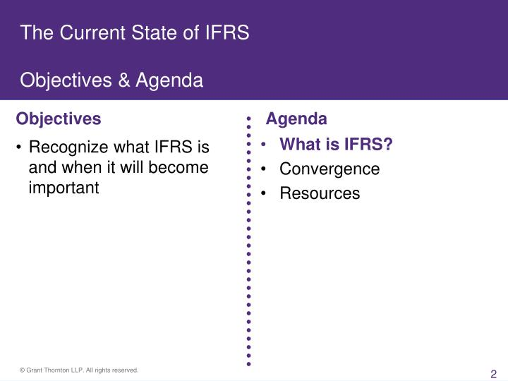 The current state of ifrs objectives agenda