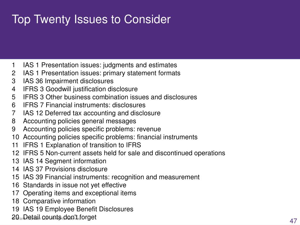 Top Twenty Issues to Consider