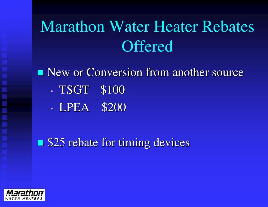 Marathon Water Heater Rebates   Offered