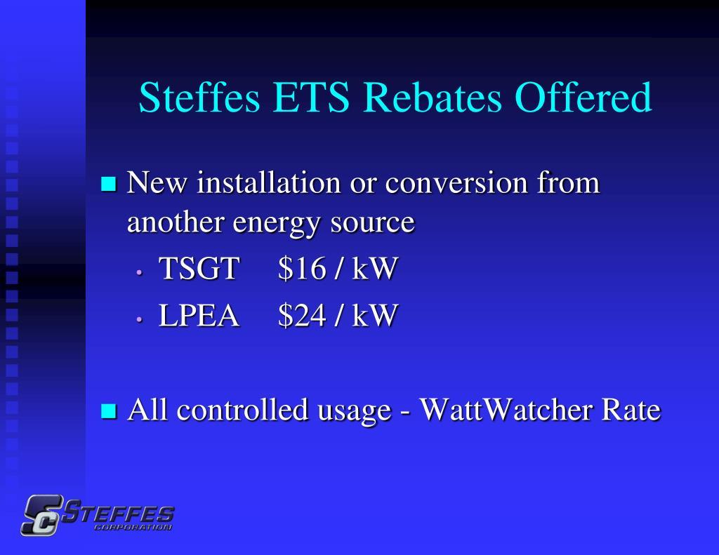 Steffes ETS Rebates Offered