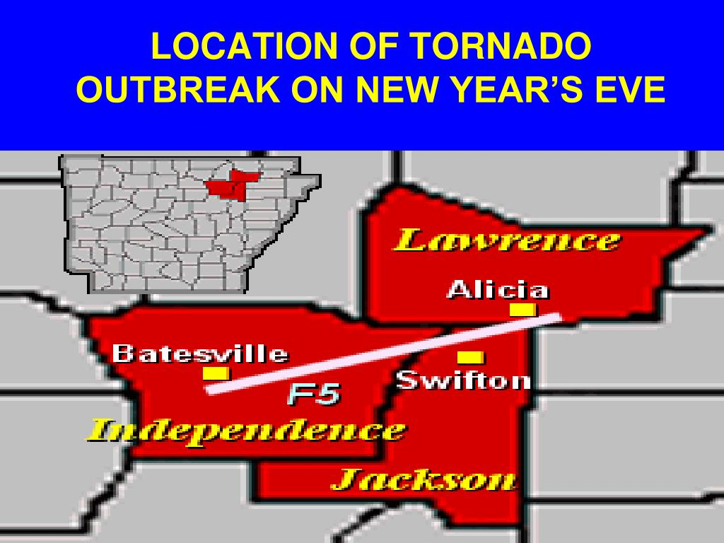 LOCATION OF TORNADO OUTBREAK ON NEW YEAR'S EVE