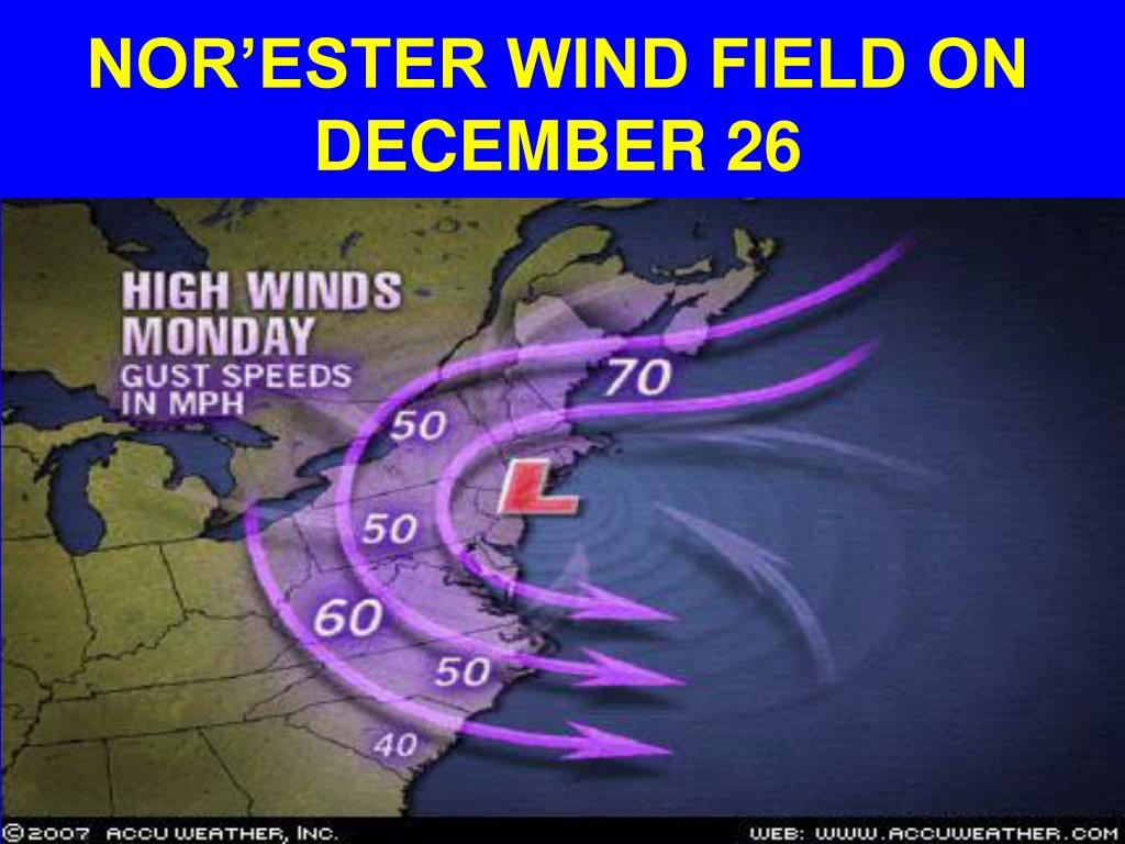 NOR'ESTER WIND FIELD ON DECEMBER 26