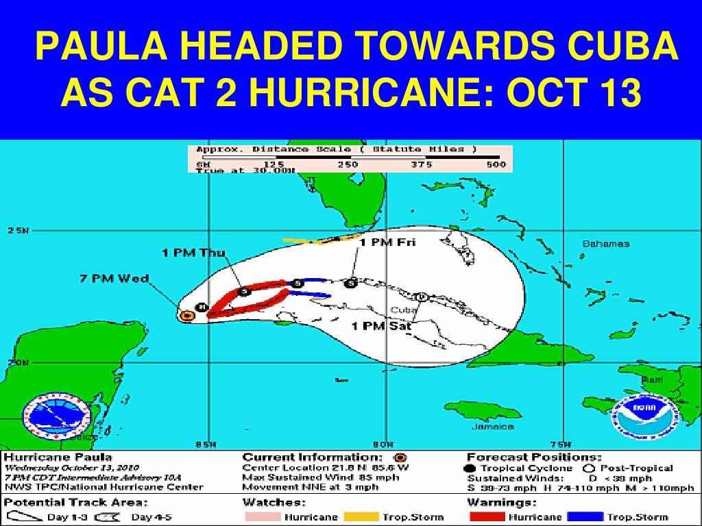 PAULA HEADED TOWARDS CUBA AS CAT 2 HURRICANE: OCT 13