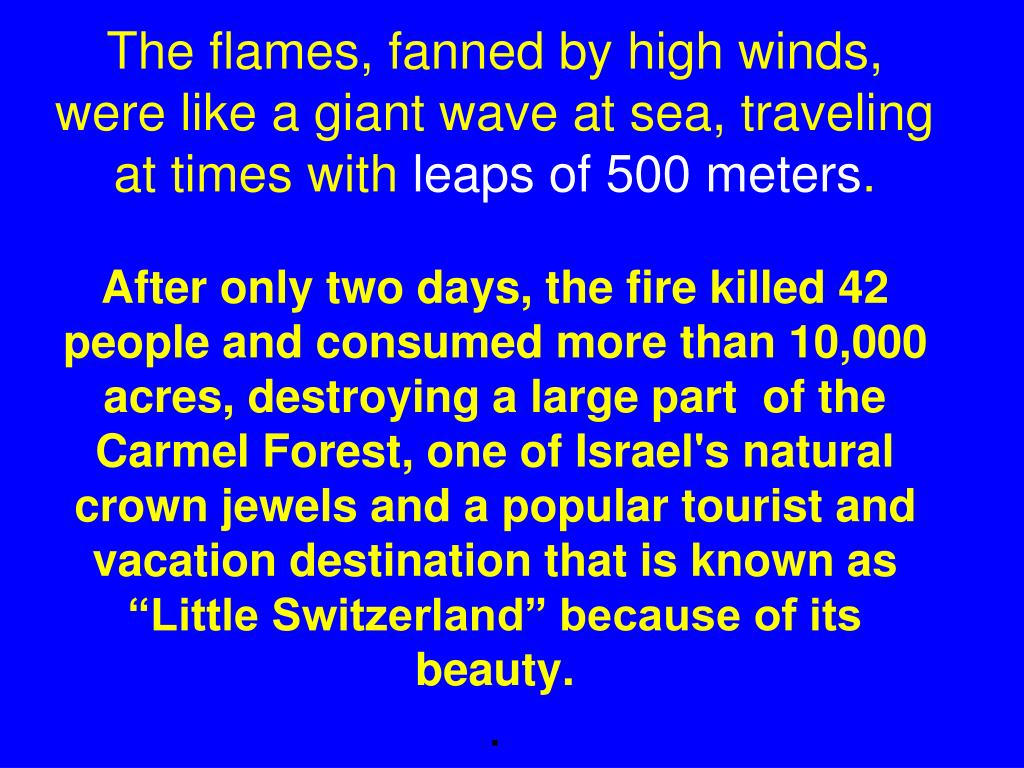 The flames, fanned by high winds, were like a giant wave at sea, traveling at times with