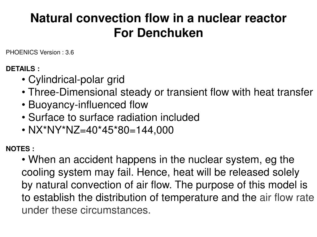 Natural convection flow in a nuclear reactor