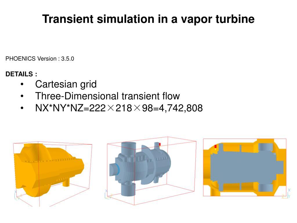 Transient simulation in a vapor turbine