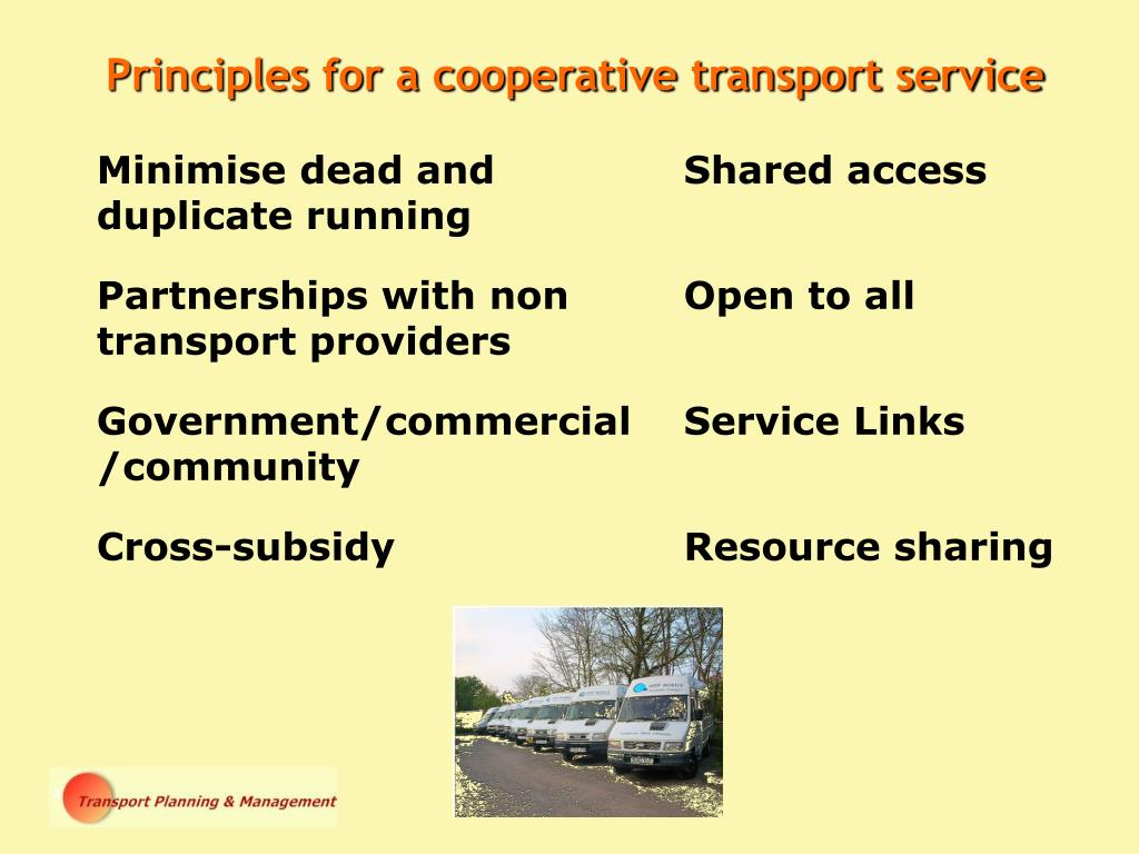 Principles for a cooperative transport service