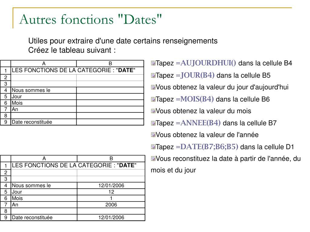 """Autres fonctions """"Dates"""""""