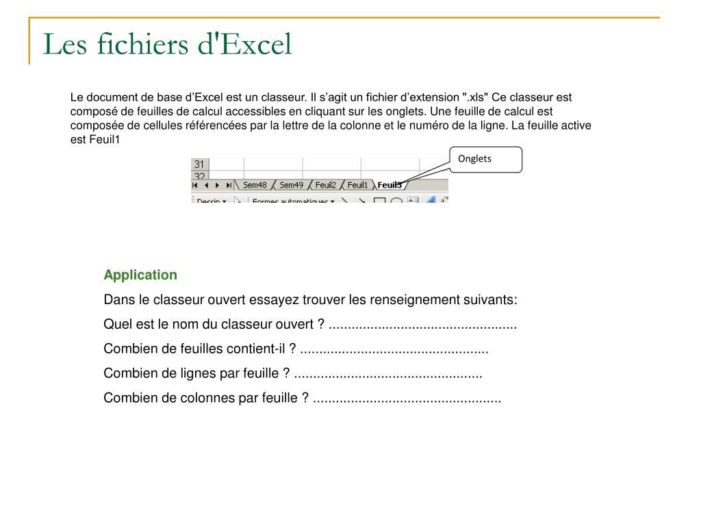 Les fichiers d'Excel