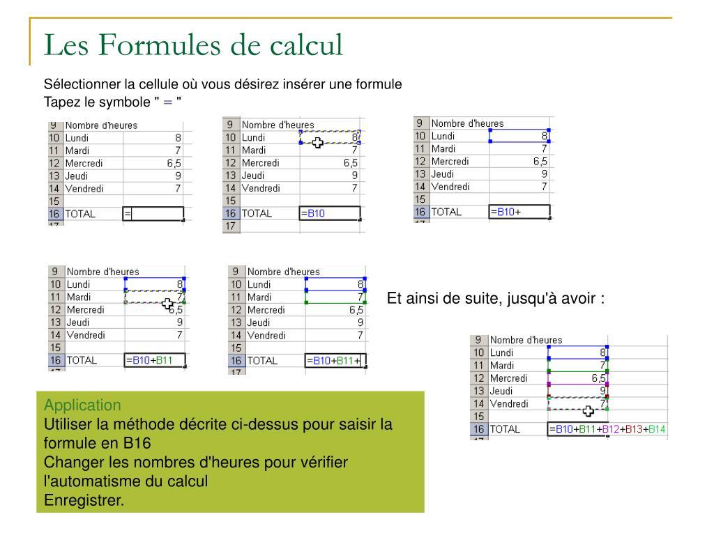Les Formules de calcul