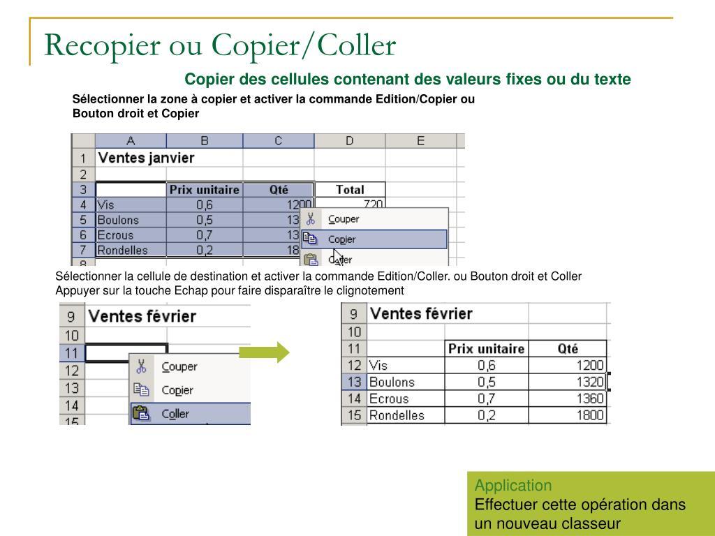 Recopier ou Copier/Coller