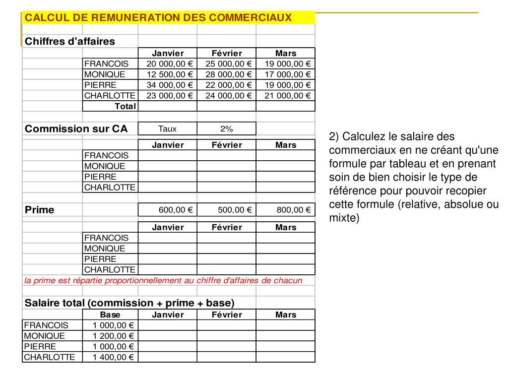 2) Calculez le salaire des commerciaux en ne créant qu'une formule par tableau et en prenant soin de bien choisir le type de référence pour pouvoir recopier cette formule (relative, absolue ou mixte)