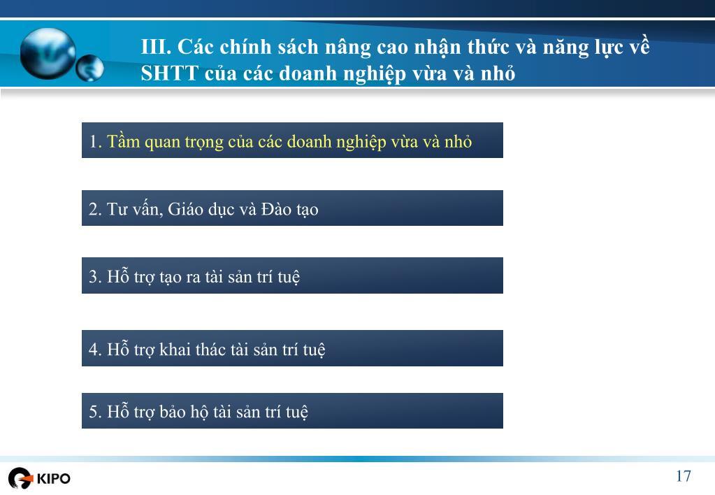 III. Các chính sách nâng cao nhận thức và năng lực về SHTT của các doanh nghiệp vừa và nhỏ