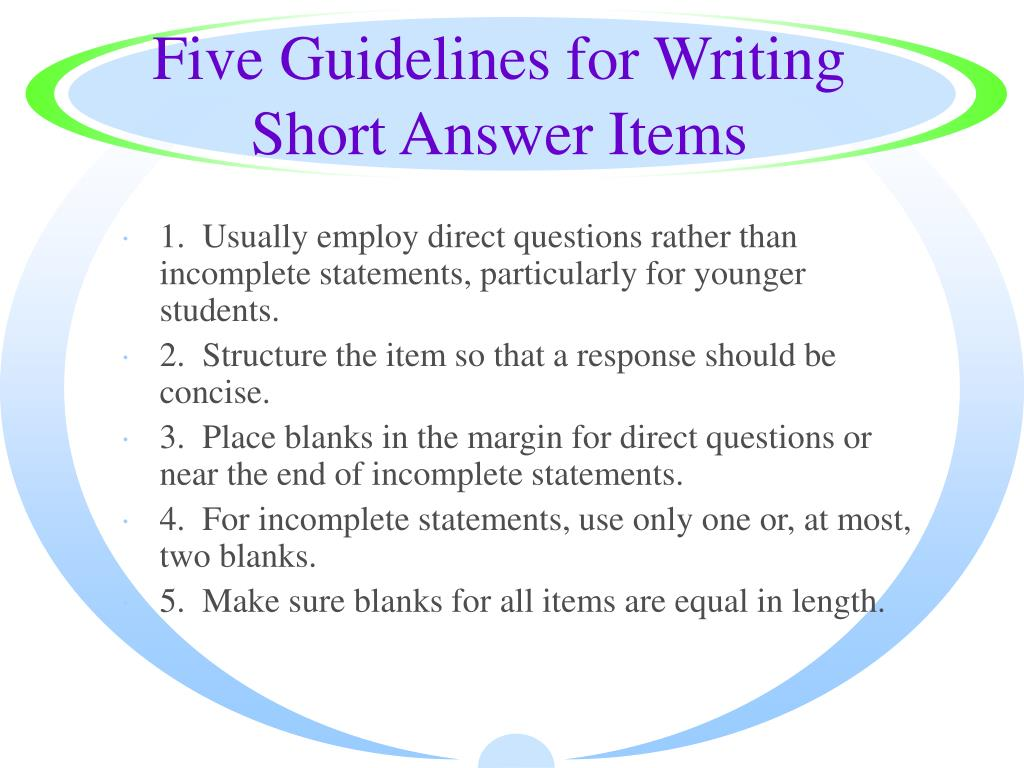 Five Guidelines for Writing Short Answer Items