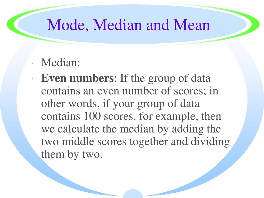 Mode, Median and Mean