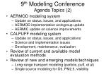 9 th modeling conference agenda topics 2