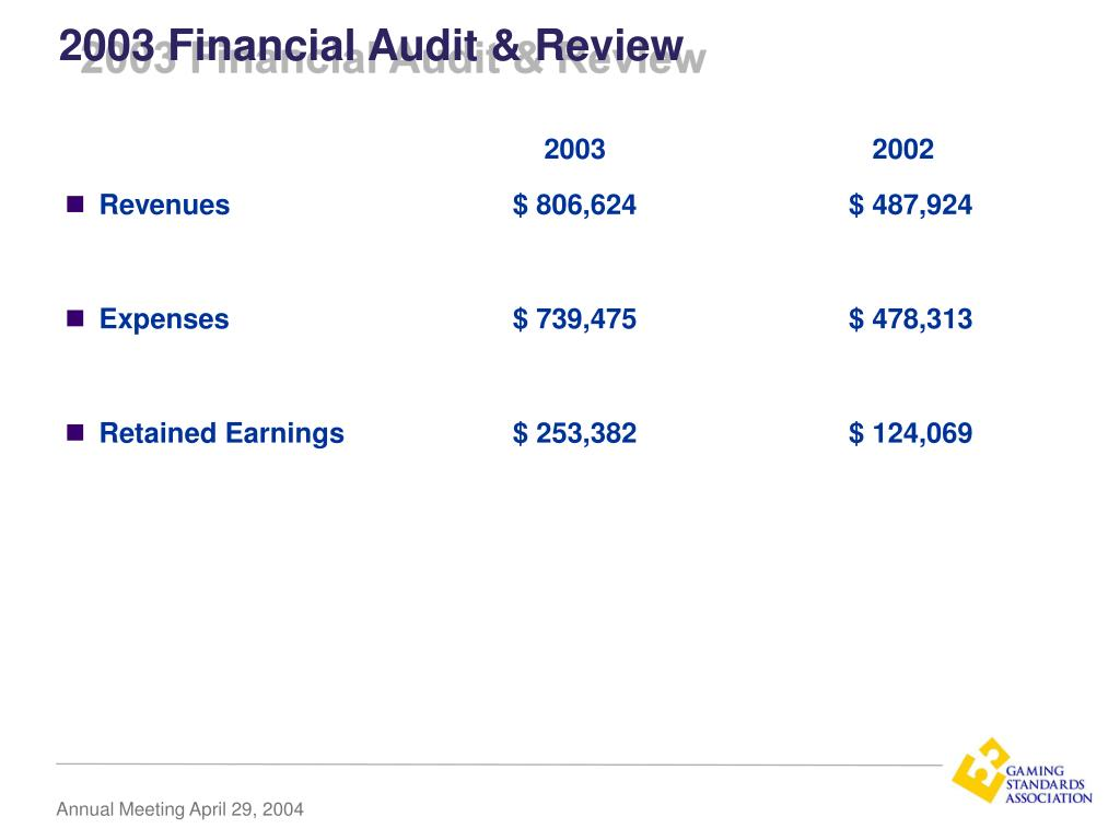 2003 Financial Audit & Review