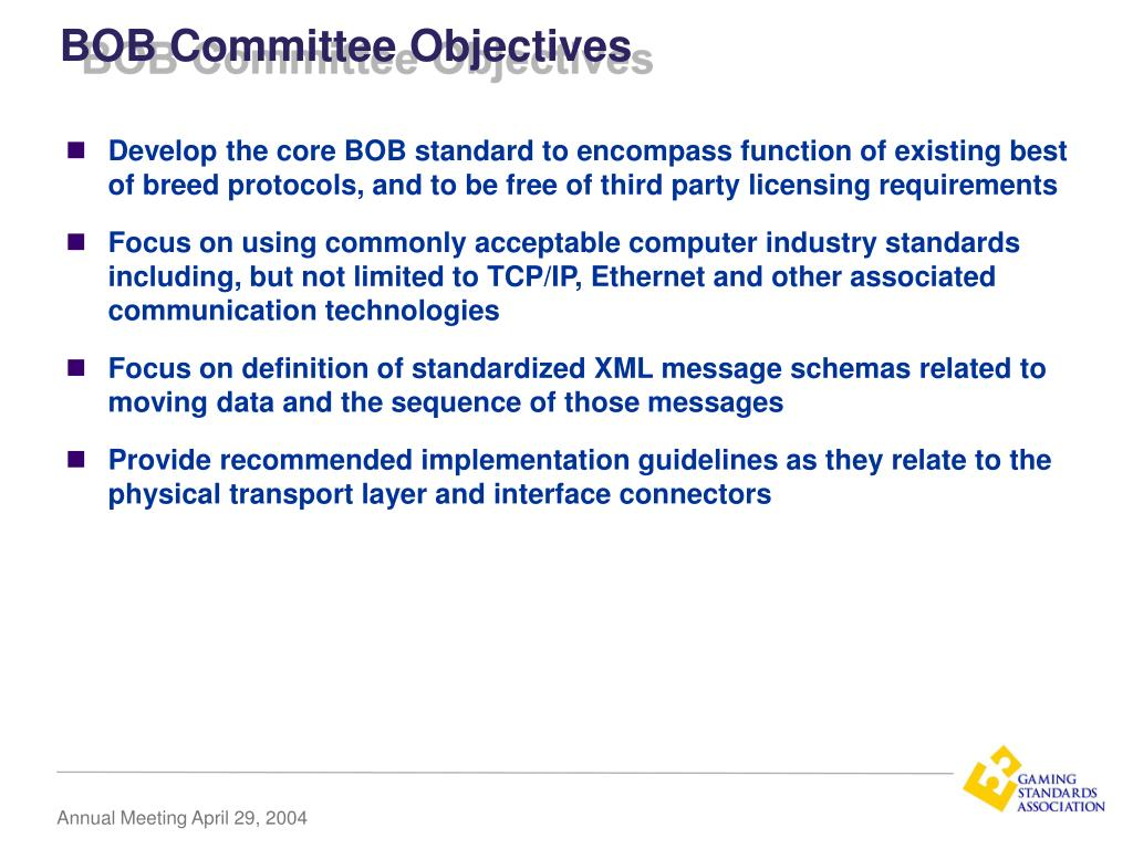 BOB Committee Objectives