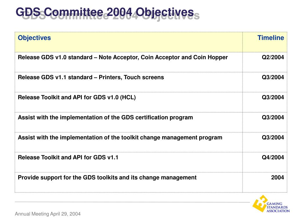 GDS Committee 2004 Objectives