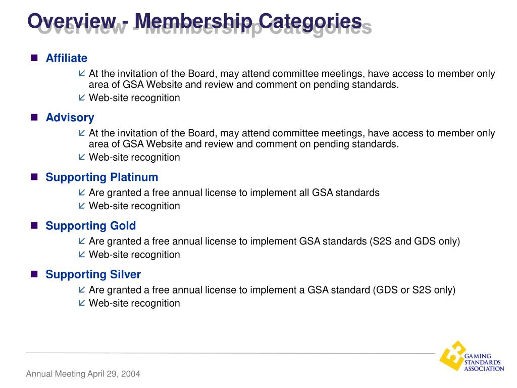 Overview - Membership Categories