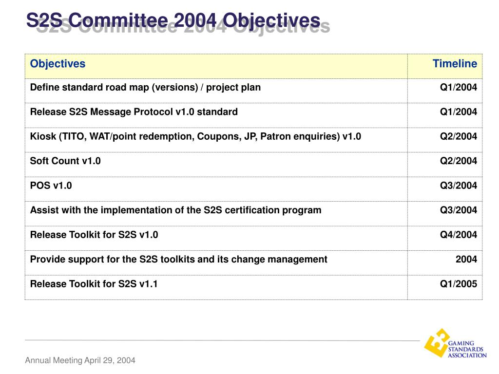 S2S Committee 2004 Objectives