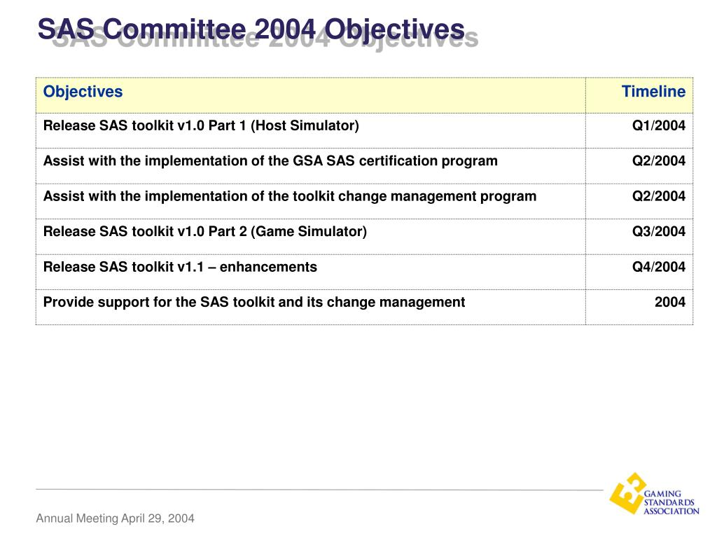 SAS Committee 2004 Objectives