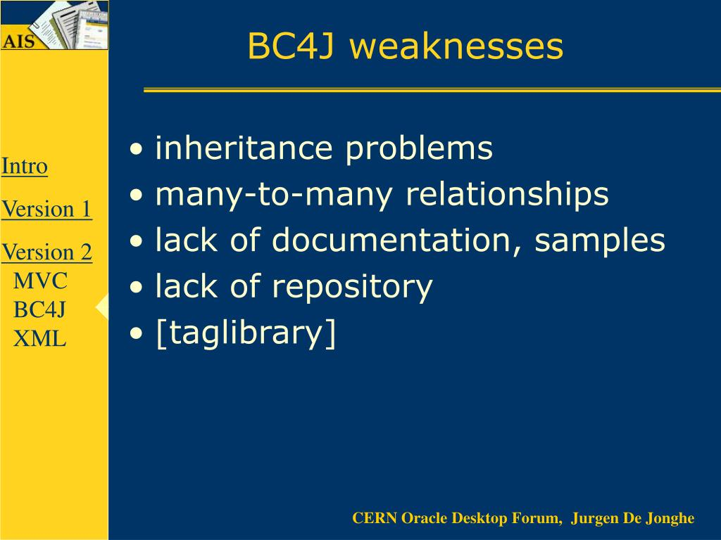 BC4J weaknesses