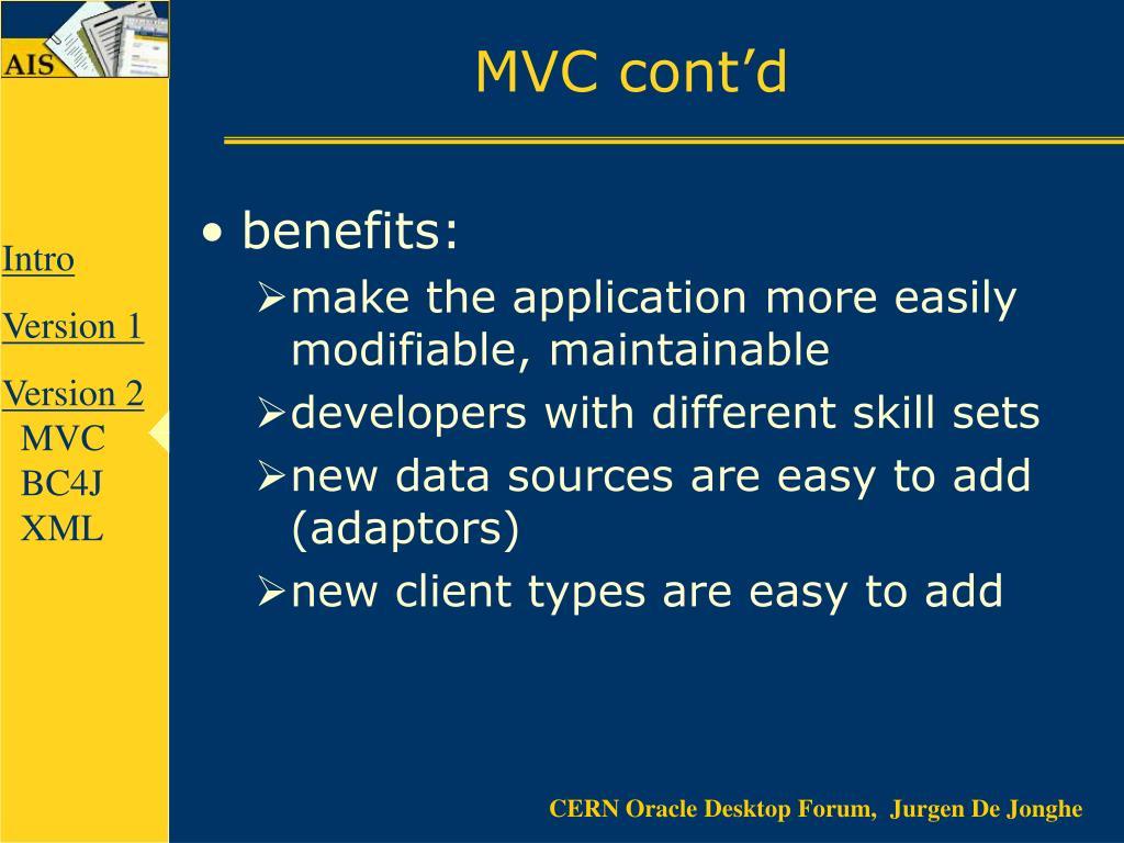 MVC cont'd