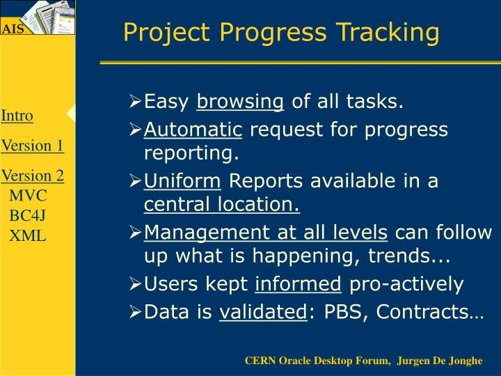 Project progress tracking