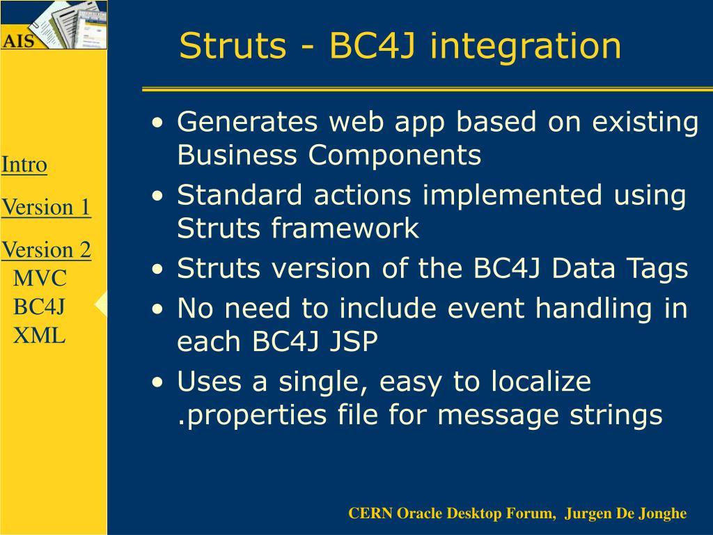 Struts - BC4J integration