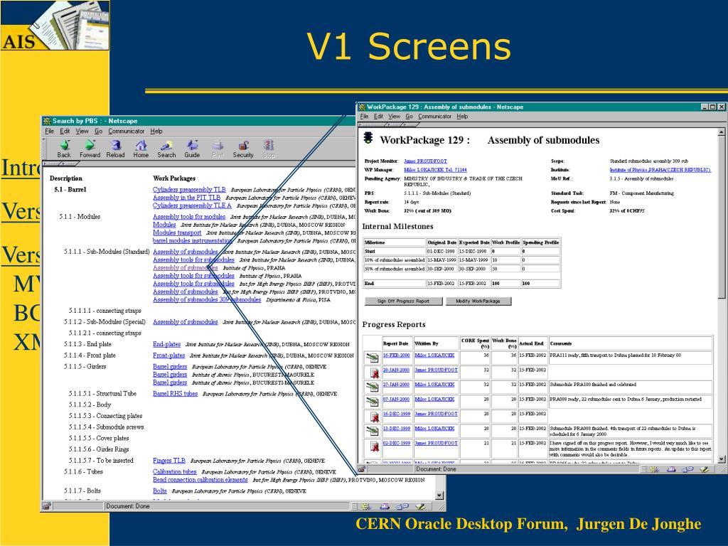 V1 Screens