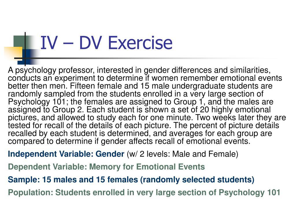 IV – DV Exercise