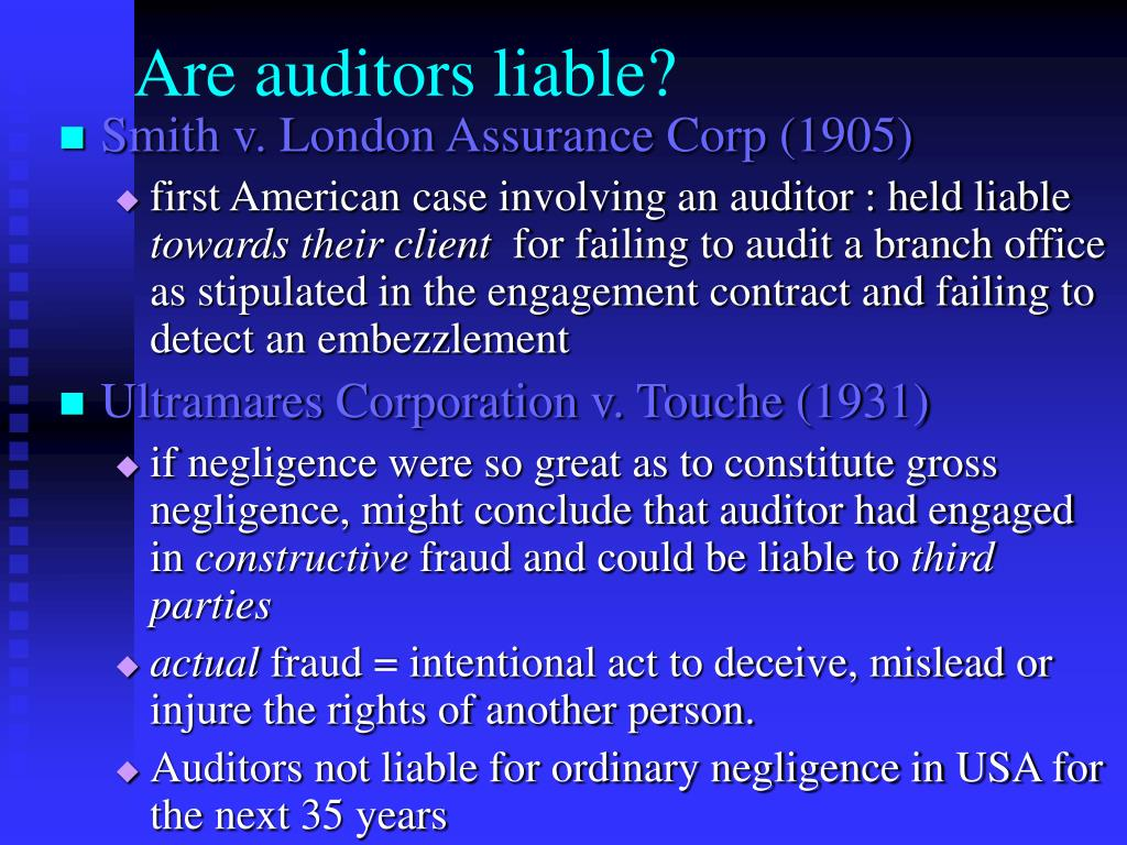 Are auditors liable?