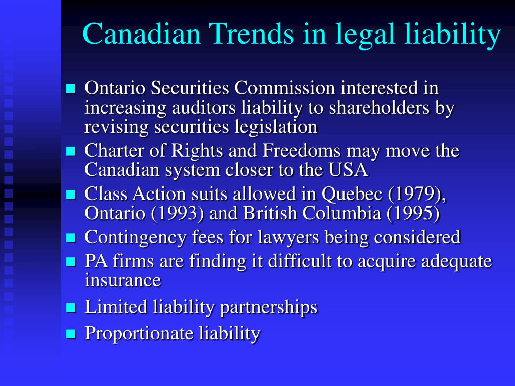 Canadian Trends in legal liability