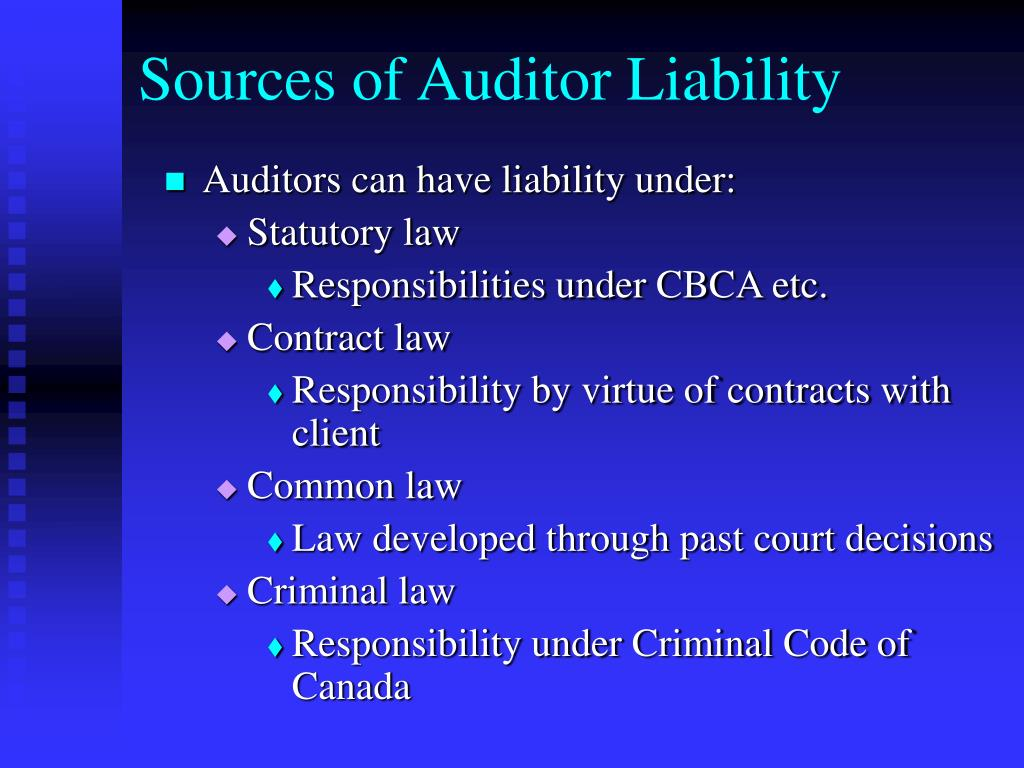 Sources of Auditor Liability