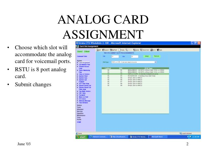 Analog card assignment