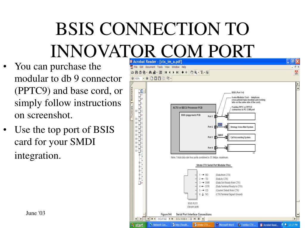 BSIS CONNECTION TO INNOVATOR COM PORT