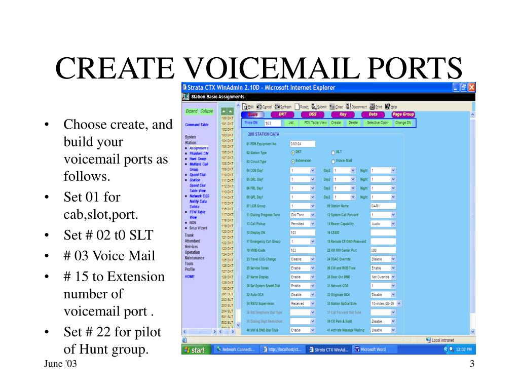 CREATE VOICEMAIL PORTS
