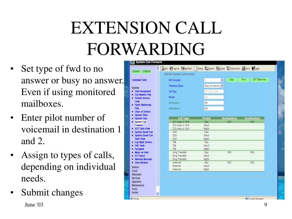 EXTENSION CALL FORWARDING