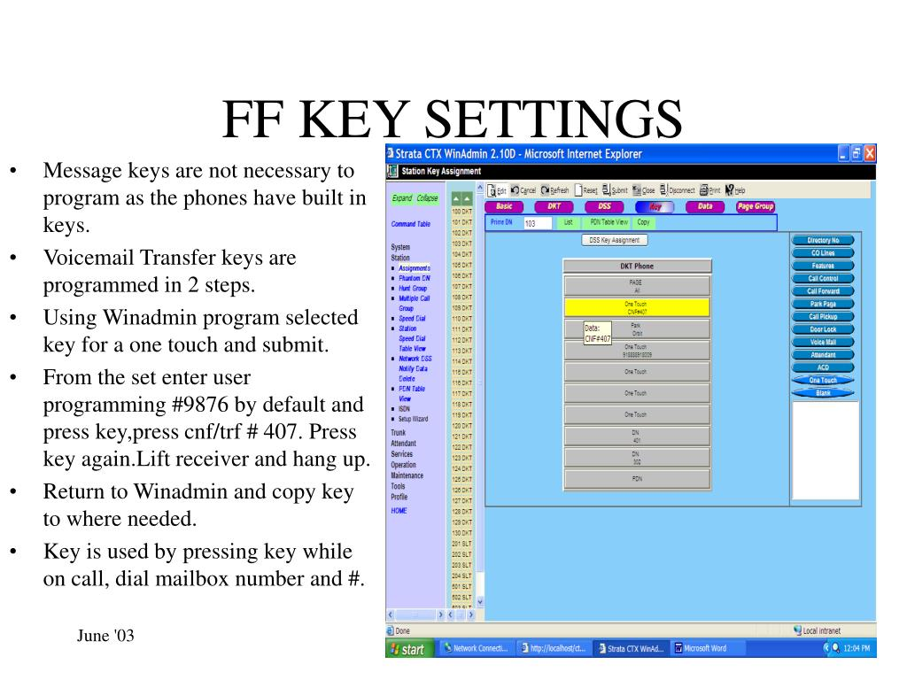 FF KEY SETTINGS