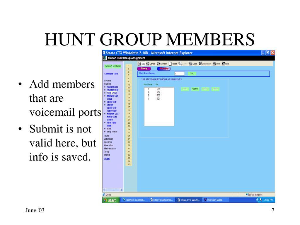 HUNT GROUP MEMBERS