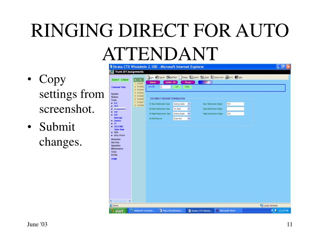 RINGING DIRECT FOR AUTO ATTENDANT