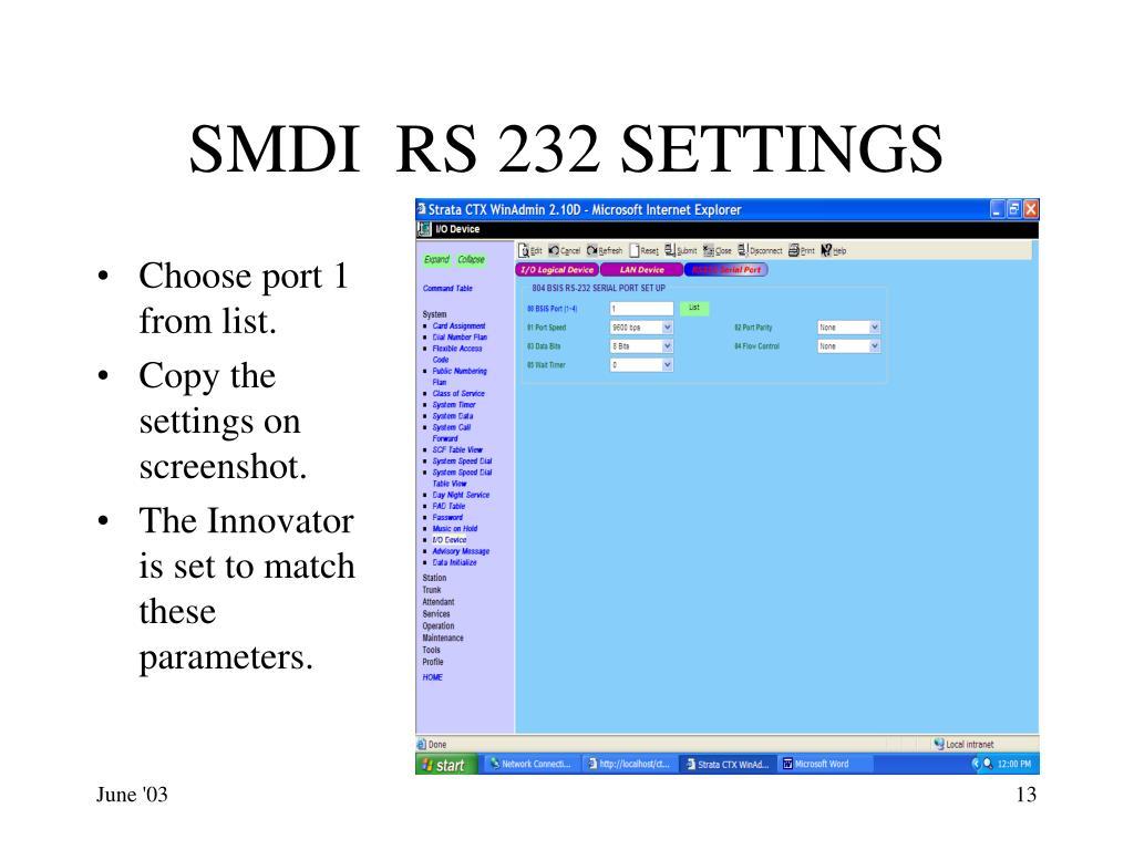SMDI  RS 232 SETTINGS