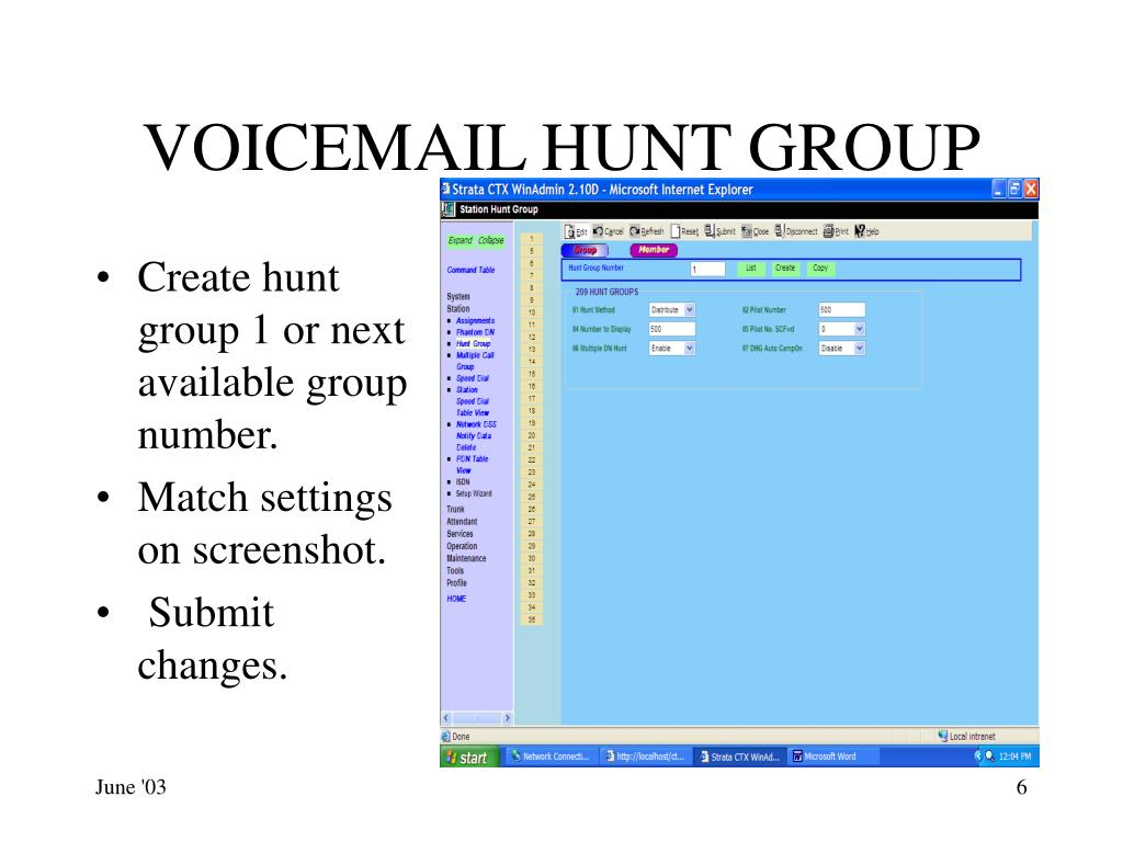 VOICEMAIL HUNT GROUP